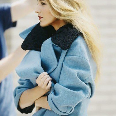 Sylvie in the Sky / Winter Style Guide / 8 Classic Coats It Girls Love / Blake Lively / Blue Coat